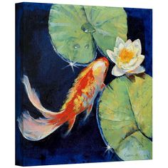 Michael Creese 'Koi and White Lily' gallery-wrapped canvas is a high-quality canvas print depicting a golden koi fish and white lily in the artist's signature vibrant, oil impasto style. A beautiful addition to your home or office.