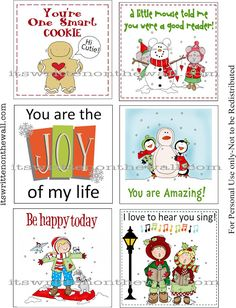 Free Christmas Lunch Box Notes www.247moms.com #247moms