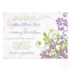 Violet Purple Lime Green Floral Wedding Invitation