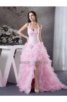 A-line Sweetheart Flower Lace up Prom Dresses