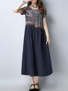 Women Ethnic Patchwork Short Sleeve Mid-Long Vintage Dresses