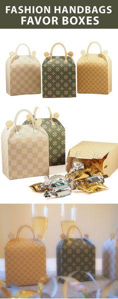 Create 3 faboulus fashion handbags favor boxes. Easy printables. #louisvuitton #bridalshower #papercrafts #chanel #guicci #fashionparty #handbagfavorbox