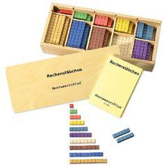 Rechenstäbchen in Montessori-Farben. Made in Germany!