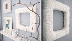 Marco hecho con lana | Más marcos caseros ►http://trucosyastucias.com/decorar-reciclando/marcos-de-fotos-caseros #DIY