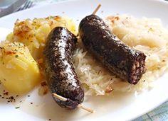 Recept na Jelítko pečené v troubě, kysané zelí, brambor Baked Potato, Sausage, Food And Drink, Potatoes, Baking, Meat Products, Ethnic Recipes, Kitchens, Cooking