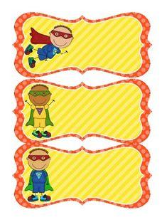 Superhero Name Tags - Red & Yellow Superhero Name Tags, Superhero School Theme, Superhero Room, School Themes, Classroom Themes, Classroom Organization, Kids Graphics, Kindergarten Activities, Preschool