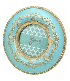 Turquoise Round Resin Picture Frame Gold Scroll Trim Round Picture Frames, Decorative Plates, Resin, Concept, Turquoise, Gold, Pictures, 4x4, Decorating