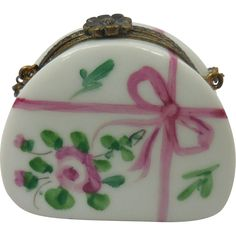 Miniature French Limoges Hand Painted Porcelain White & Magenta Hand Purse Box