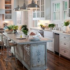Preppy Empty Nester - look at the detail on this island.  And the farmhouse sink doesn't hurt either!