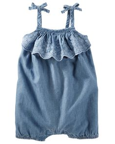 88c0982ac05 Baby Girl Eyelet Ruffle Chambray Romper. With eyelet embroidered ruffles