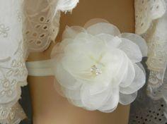 Wedding garter, bridal garter, silk organza flower garter belt, rhinestone garter, ivory garter, simple garter, Stretch Garter