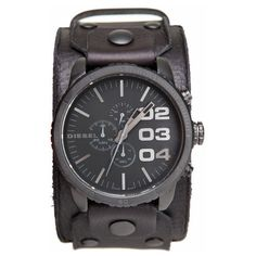 The Leather Cuff Face Watch by Diesel features: Bold screw and logo plated detail. Chronograph style design with pieced leather cuff. Leather Cuffs, Leather Men, Cool Watches, Watches For Men, Men's Watches, Diesel Watch, Mens Gear, Watch Bands, Big Ben
