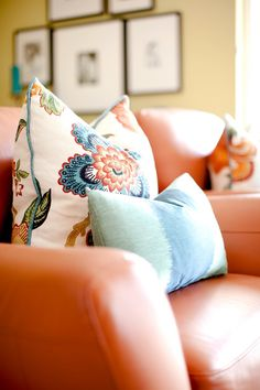 Tangerine + turquoise from Caitlin Wilson - visit houseofturquoise.com for more photos of this home, it's all so pretty!