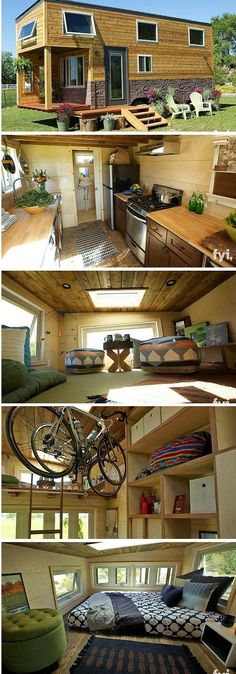 Southwestern-style tiny house featured on FYI's popular show, Tiny House Nation. The charming one bedroom home features a full kitchen, bathroom, cozy loft bedroom, and a living/dining room area in addition to a porch and bicycle storage. Bike storage! | Tiny Homes