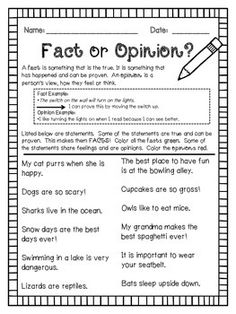 Fact & Opinion Worksheet | Comprehension, Composition and ...
