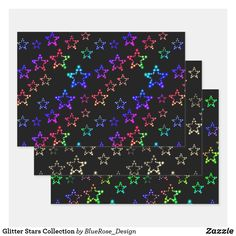 Glitter Stars Collection Wrapping Paper Sheets
