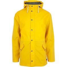 COLOURBLOCK: River Island Yellow Bellfield hooded rain mac £60