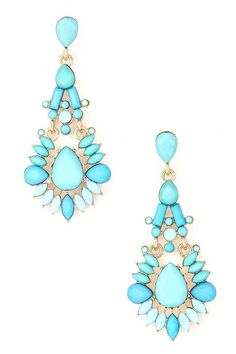 "Earrings with standout style. Jewel teardrop earrings. Adds the perfect pop-of-color to any outfit. Length: 2.5""."