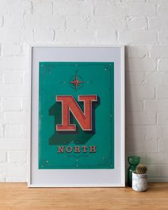 London Drop Cap: North  typography print poster by glpHQ on Etsy