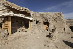 The central court of the ruins of the Kafiriat monastery at Mes Aynak, archaeological work is underway.
