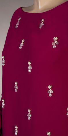 Ribbon Embroidery Tutorial, Hand Embroidery Dress, Hand Embroidery Designs, Embroidery Patterns, Eid Favours, Thread Work, Kebaya, Fancy Dress, Kurti