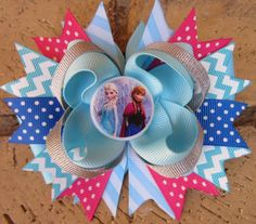 Disney Frozen Anna Elsa Inspired Custom Boutique Hair Bow for Disney World Vacation