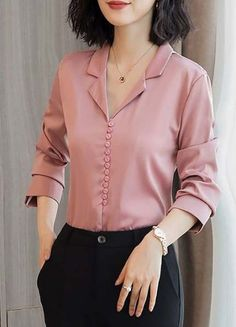 Long sleeve work solid buttoned shift chiffon blouse fashion in 2019 blusas, How To Wear Cardigan, How To Wear Blazers, Kurti Neck Designs, Dress Neck Designs, Indian Blouse Designs, Korean Blouse, Sleeves Designs For Dresses, Casual Outfits, Fashion Outfits