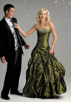 love the moss colour and ball gown style