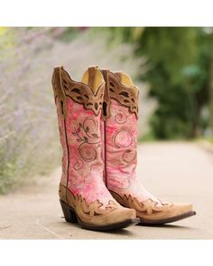 Corral Women's Fluorescent Pink/Cognac Collar and Wing Tip Boot   http://www.countryoutfitter.com/products/36482-womens-fluorescent-pink-cognac-collar-and-wing-tip-boot-r1194 #cowgirlboots