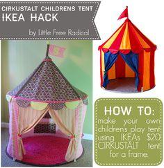 CIRKUSTÄLT children's tent IKEA HACK. new fabric, added windows, pockets & a rug!!!