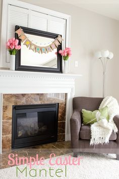Easter Mantel. Love how simple, yet beautiful it is!