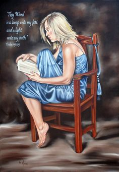 """""""Thy Word is a lamp unto my feet, a light unto my path""""Psl oil on canvas by llse Kleyn❤️ Jesus Art, God Jesus, Word Of God, Thy Word, Bride Of Christ, Prophetic Art, Daughters Of The King, Women Of Faith, Faith In Love"""
