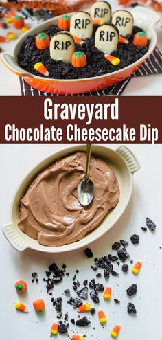 "A dessert dip that tastes like a decadent chocolate cheesecake. Topped with crunchy chocolate cookie ""dirt"" and vanilla cookie ""tombstones,"" this easy recipe is the perfect Halloween treat.#halloween #dessert @wellplated Cheesecake Dip, Chocolate Cheesecake, Easy To Make Desserts, Delicious Desserts, Dessert Dips, Dessert Recipes, Halloween Crafts, Halloween Party, Vanilla Cookies"