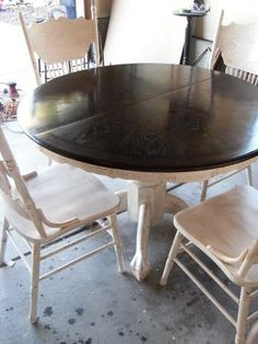 Stained top table with painted base and chairs