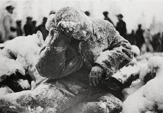 Picture of a Russian soldier who died during the winter war with Finland. Frozen to death mid movement. Creepy