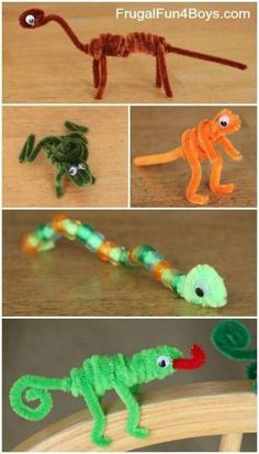 Craft for Kids: Pipe Cleaner Animals Pipe Cleaner Animals Craft for Kids- perfect rainy/snowy day activity with minimal supplies for maximum fun!Pipe Cleaner Animals Craft for Kids- perfect rainy/snowy day activity with minimal supplies for maximum fun! Animal Crafts For Kids, Easy Crafts For Kids, Craft Activities For Kids, Toddler Crafts, Crafts To Do, Diy For Kids, Craft Ideas, Decor Crafts, Children Crafts