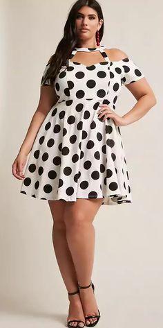 Plus Size Polka Dot Open Shoulder Flare Dress