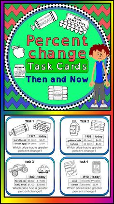 "Students find percent change between ""then and now"" costs of 2 items listed on each card. They then compare the percent increases to determine which item's cost increased the most over the years. School Resources, Math Resources, Math Activities, Percent Of Change, Consumer Math, Fun Math, Maths, Math Lab, Education Middle School"