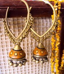 Pear shaped brass bali with brass beads and terra-cotta jhumki at the bottom