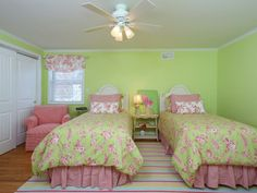 Bright and cheerful bedroom combines interesting mix of colors and patterns in this home in Sea Girt, NJ