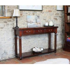 La Roque Mahogany Furniture Console Hall Table is quality furniture for your living room and dining room Small Hallway Table, Hallway Table Decor, Hallway Console, Hallway Furniture, Small Hallways, Entryway Tables, Wooden Furniture, Hall Tables, Console Furniture