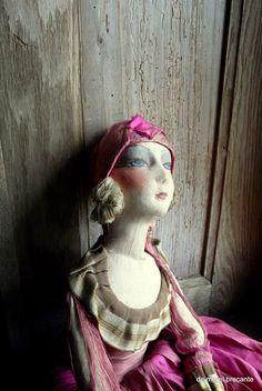 ancien Français tag danseuse de poupée pour le boudoir les