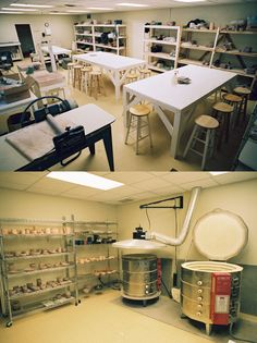 pottery studio - notice size of wedging board, canvas covered work area, kiln hood and vent system.