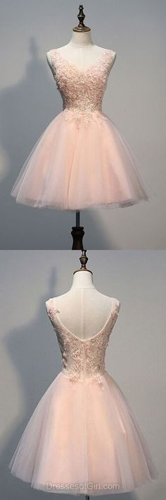 Princess Homecoming Dresses, V-neck Party Gowns, Short Cocktail Dress, Graduation Dresses, Lace Prom Dresses