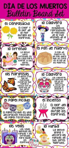 Da de los Muertos Bulletin Board Set.  Includes 12 pages and a bulletin board header.  Spanish version and version with word and image only.