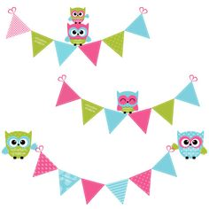 Cute Owls & Bunting Clipart in Bright Pink, Green and Blue - Ideal for Scrapbooking, Cardmaking and Paper Crafts