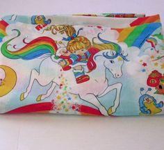#RainbowBrite Twin Flat Bed Sheet Polyester/ cotton Hallmark 1983 bright vintage