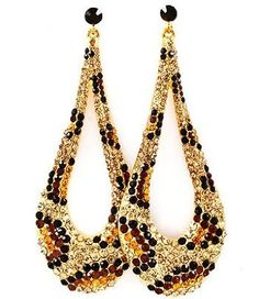 "$25.99 Amazon.com: LEOPARD BLING Rhinestone & Crystal Animal Print 4"" Dangle Earrings by Jersey Bling in gift box (BROWN LEOPARD): Jewelry"