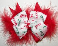 #Christmas Candy Cane Red Marabou Girls Hair Bow $14.00
