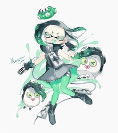 alternate_color crown domino_mask fingerless_gloves gloves hime_(splatoon) inkling looking_at_viewer mask mole mole_under_mouth multicolored_hair pantyhose smile splatoon tentacle_hair zipper Splatoon Squid, Nintendo Splatoon, Splatoon 2 Art, Splatoon Comics, Pearl And Marina, Otaku, Anime, Cartoon Art, Game Art